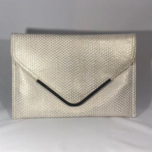 BCBG Faux Snakeskin White & Metallic Gold Clutch
